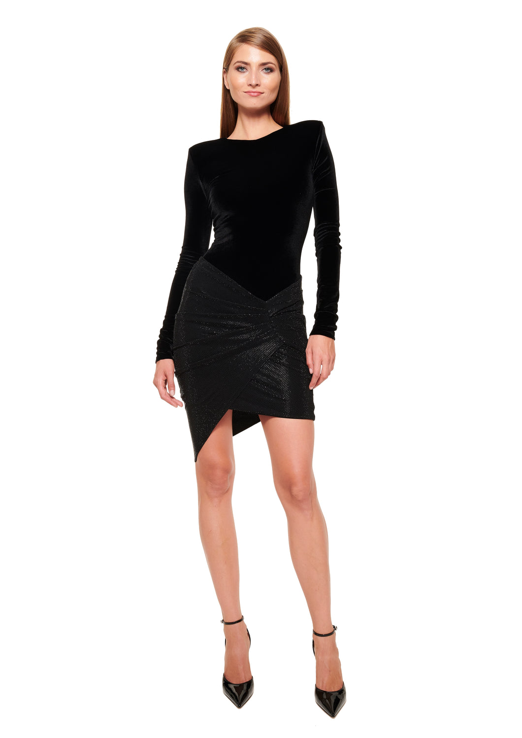 BLACK ROUND-NECK LONG SLEEVE VELVET JERSEY BODYSUIT