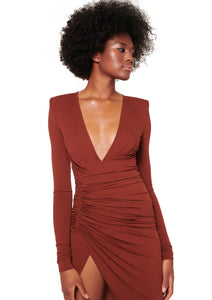 CINNAMON LONG SLEEVE STRETCH JERSEY MIDI DRESS