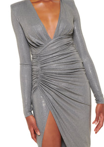 STEEL LONG MICROCRYSTAL V-NECK GOWN