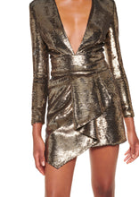 Load image into Gallery viewer, PLATINIUM SEQUINED V-NECK MINI DRESS