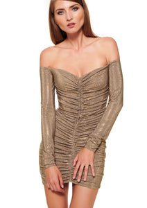 CAPPUCCINO OFF-THE-SHOULDER CRYSTALLISED CORSET MINI DRESS