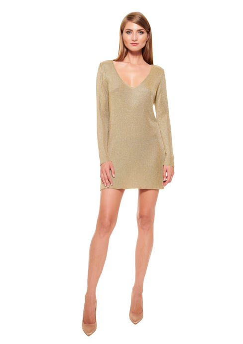 GOLD V-NECK KNITTED MINI DRESS