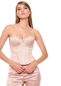 DUSTY PINK SATIN LOOK CORSET BUSTIER