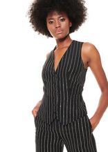 Load image into Gallery viewer, BLACK CRYSTAL STRIPED SILK VEST