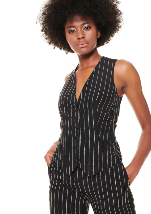 BLACK CRYSTAL STRIPED SILK VEST