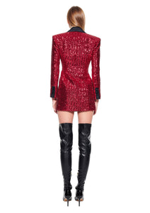 Red pailettes jacket mini dress