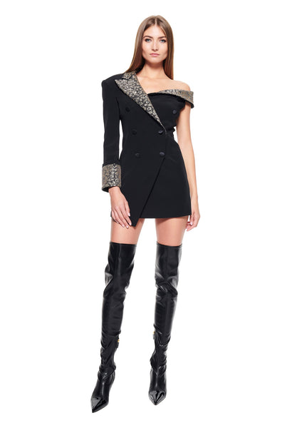 HALF JACKET DRESS WITH EMBROIDERY