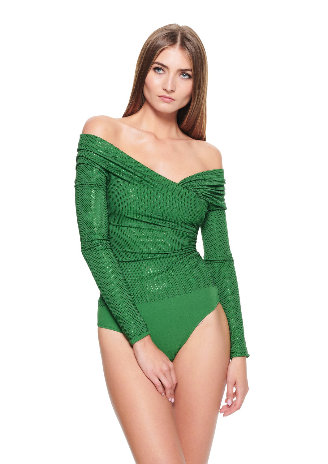 EMBELLISHED OFF SHOULDER GREEN JERSEY BODYSUIT
