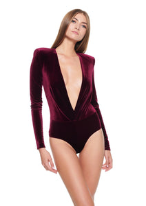 Velvet v neck Burgundy bodysuit