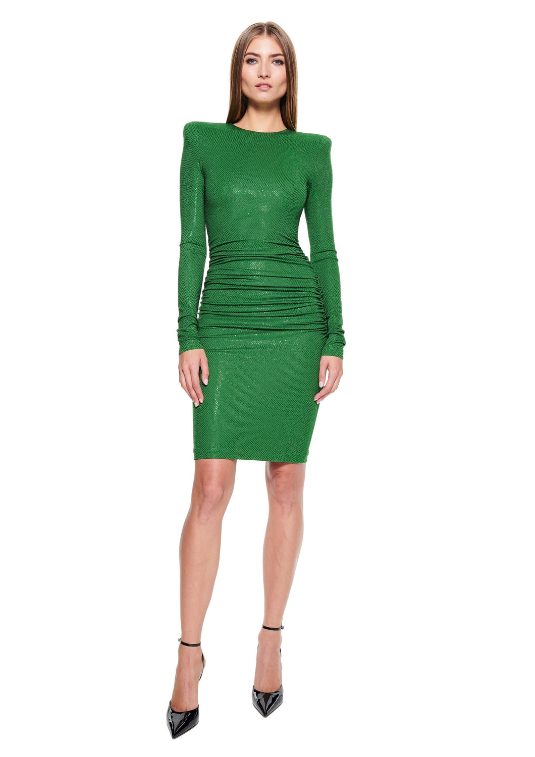 EMBELLISHED STRETCH JERSEY GREEN MIDI DRESS