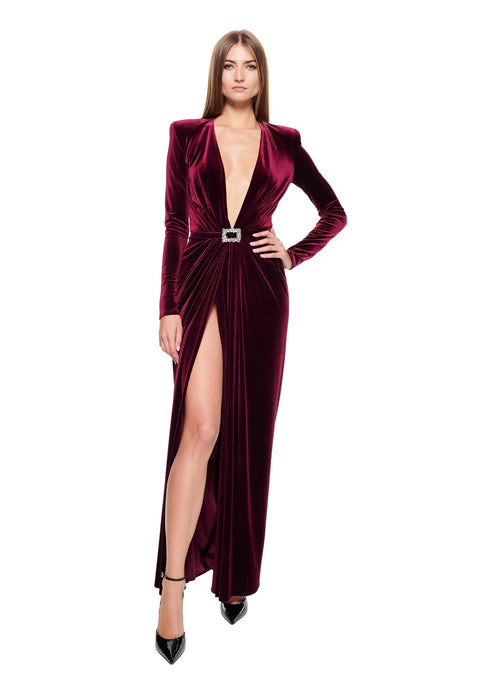 LONG V NECK DRAPED STRETCH VELVET BURGUNDY DRESS
