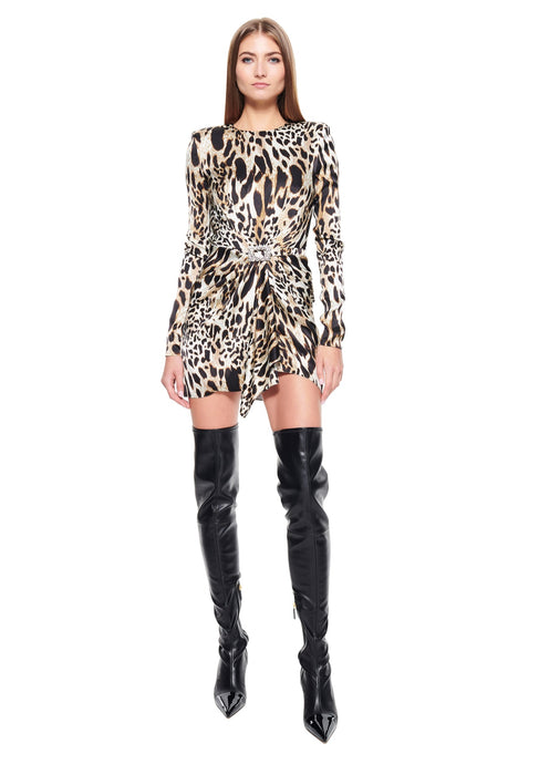 LEOPARD PRINTED STRETCH SATIN MINI DRESS