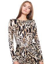 Load image into Gallery viewer, LEOPARD PRINTED STRETCH SATIN MINI DRESS