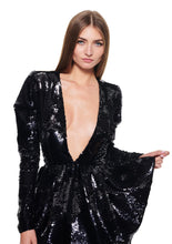 Load image into Gallery viewer, V NECK SEQUINED PEPLUM BLACK MINI DRESS