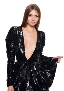 V NECK SEQUINED PEPLUM BLACK MINI DRESS