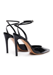 BLACK SLING BACK POINT TOE SANDALS