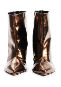 CHOCOLATE MIRROR EFFECT HIGH HEEL BOOTS