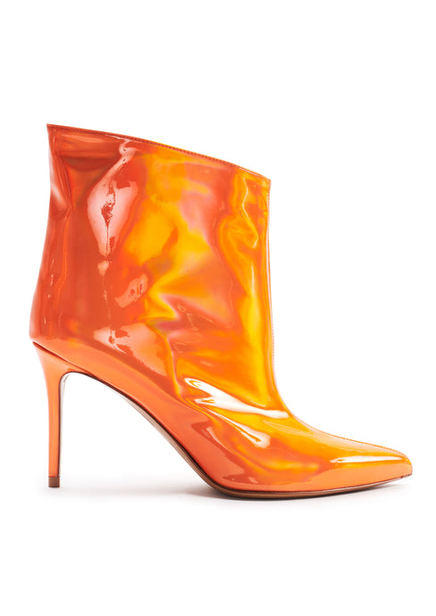 ORANGE MIRROR EFFECT HIGH HEEL BOOTS
