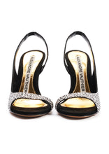 Load image into Gallery viewer, AMBER CRYSTAL BLACK SUEDE OPEN TOE SANDALS