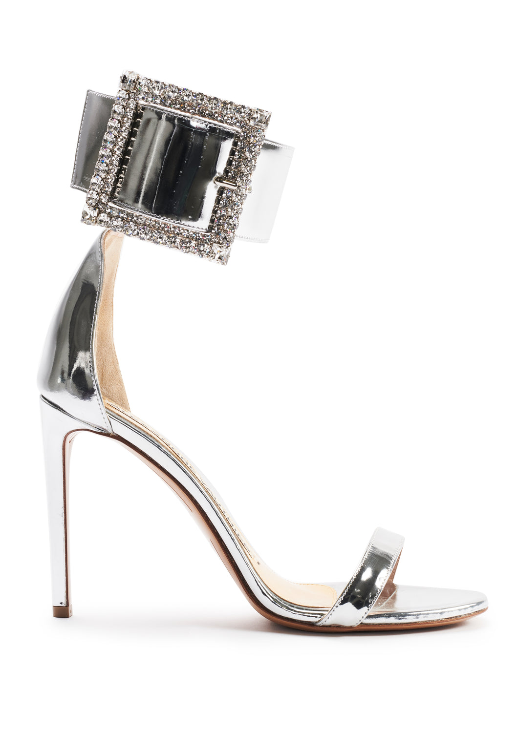 SILVER MIRROR SANDALS WITH CRYSTALLISED BUCKLE