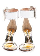 Load image into Gallery viewer, SILVER MIRROR SANDALS WITH CRYSTALLISED BUCKLE