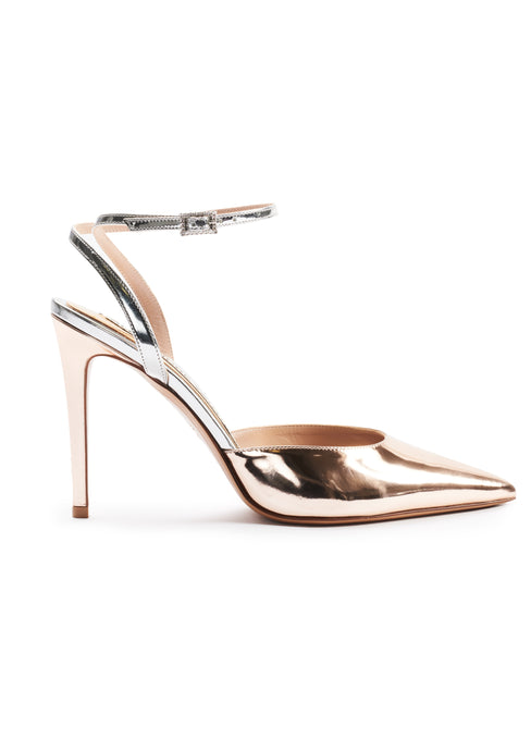 ROSE GOLD SLING BACK POINT TOE SANDALS