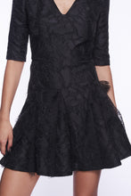 Load image into Gallery viewer, BLACK BROCADE FLARED MINI DRESS