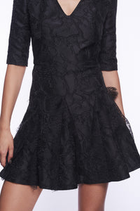 BLACK BROCADE FLARED MINI DRESS
