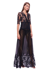 BLACK LACED TRANSPARENT LONG DRESS
