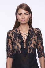 Load image into Gallery viewer, BLACK LACED TRANSPARENT LONG DRESS