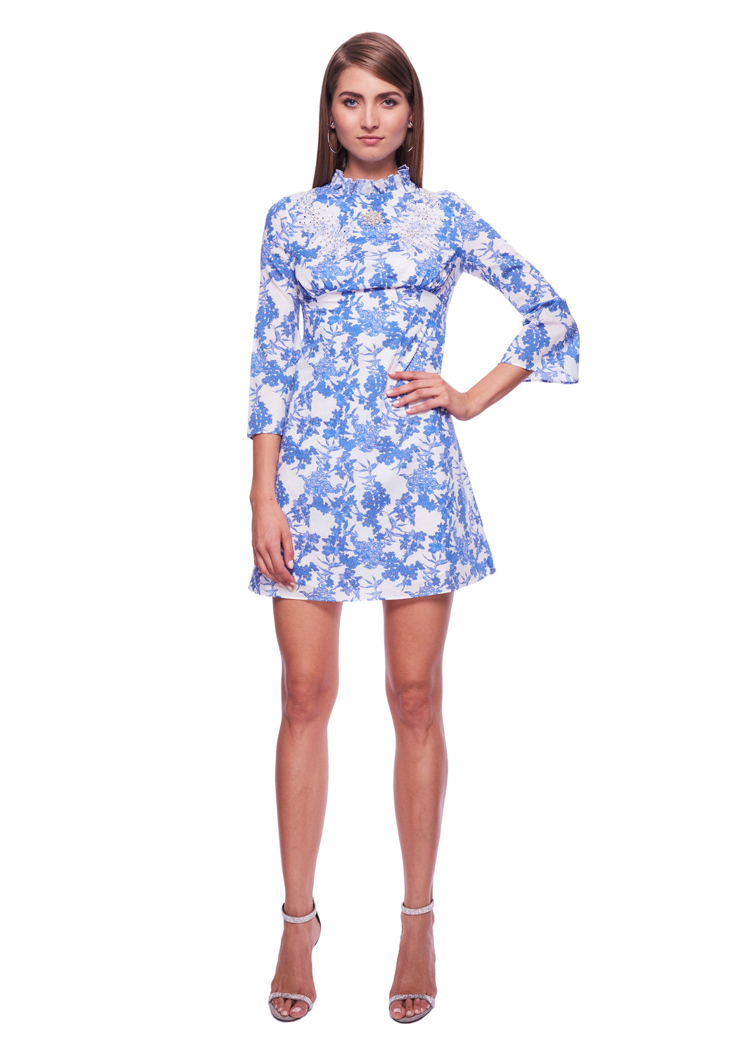 BLUE/WHITE PATERNED MINI DRESS