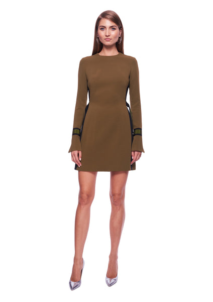 LONG SLEEVE RIBBON AND BUCKLE OLIVE DRESS