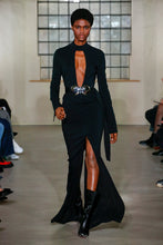 Load image into Gallery viewer, BLACK V-CUT FRONT & BACK SPLIT GOWN