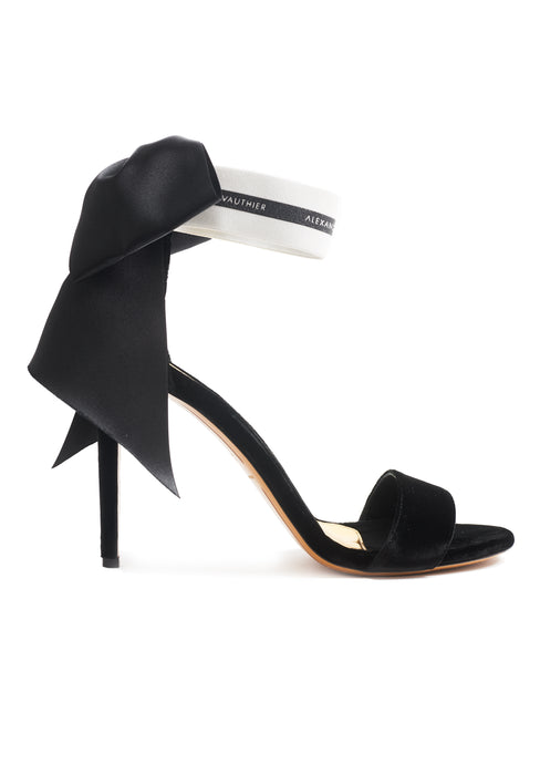 BOWDOWN BLACK VELVET SANDAL