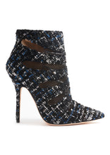 Load image into Gallery viewer, BLACK-NAVY TWEED HIGH HEEL BOOTIE