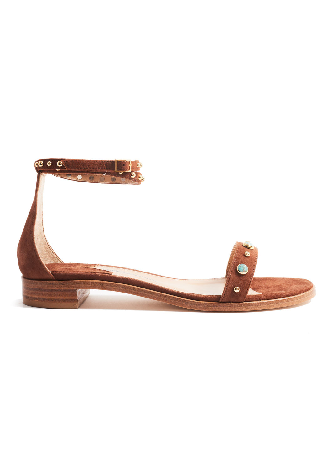 DEER SUEDE AMINA SANDAL WITH STONES