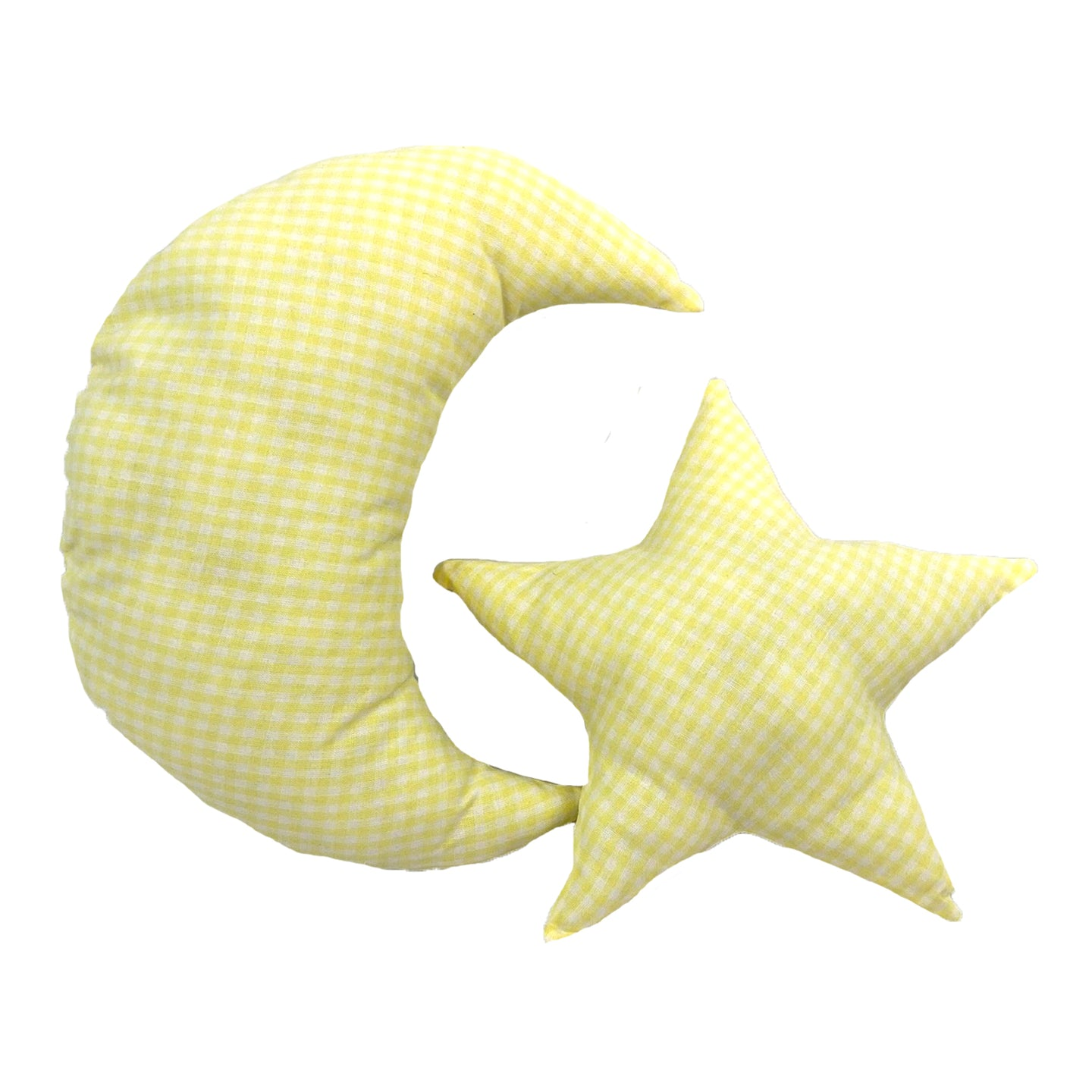 Yellow White Check Moon and Star Pillows DIY Sewing and Craft Kit