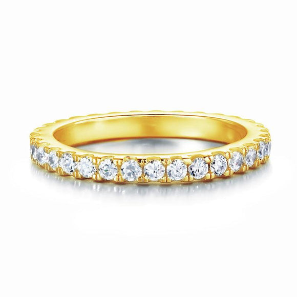 0.70ct Full Diamond Eternity Ring, Round Brilliant Cut Diamonds, 925 Sterling Silver, Yellow Gold Plated