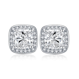 2.50ct Each Cushion Cut Halo Diamond Stud Earrings, 925 Sterling Silver