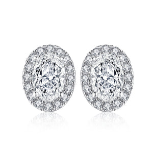 2.50ct Oval Halo Diamond Stud Earrings, 925 Sterling Silver