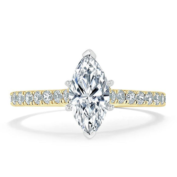1.20ct Marquise Cut Moissanite Engagement Ring, Classic Style,  Available in White Gold, Platinum, Rose Gold or Yellow Gold