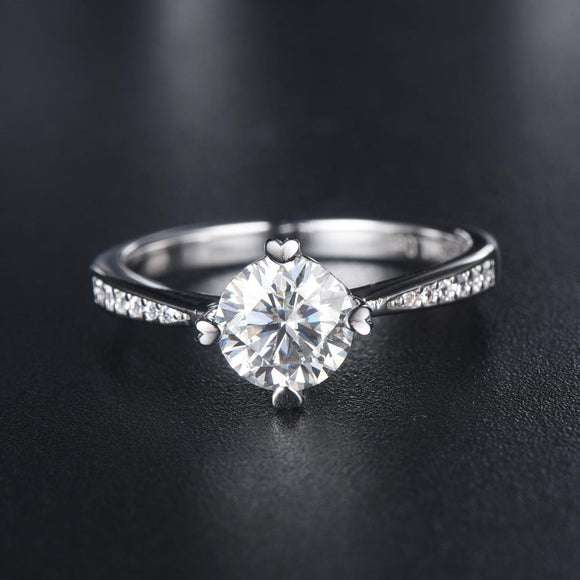1.00ct Moissanite Engagement Ring, Four Claw Shoulder Set Design, Sterling Silver & Platinum