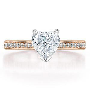 Lab-Diamond Heart Cut Engagement Ring, Classic Style, Choose Your Stone Size and Metal