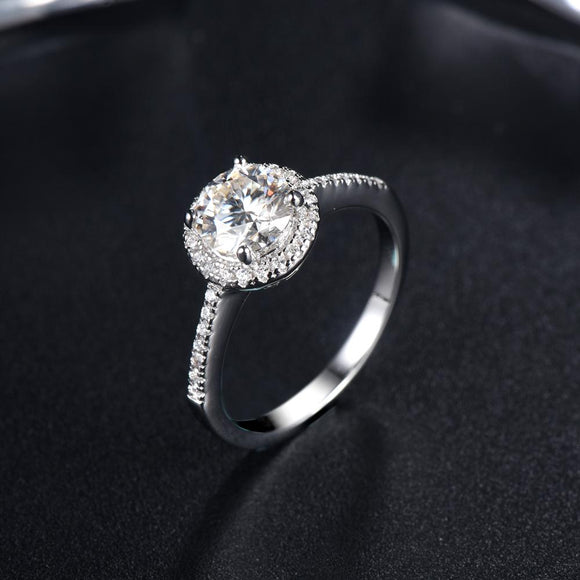 1.00ct Moissanite Engagement Ring, Classic Halo Setting with Stone Set Shoulders , Sterling Silver & Platinum