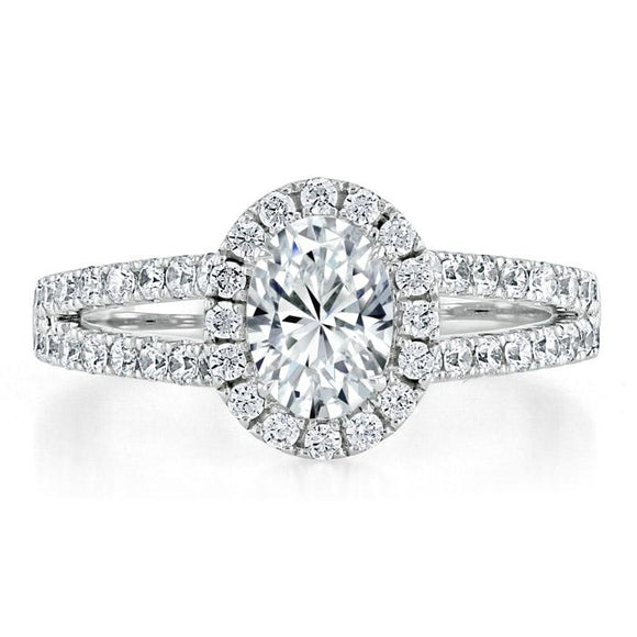 1.60ct Oval Cut Moissanite Halo Engagement Ring, Tiffany Style,  Available in White Gold, Platinum, Rose Gold or Yellow Gold