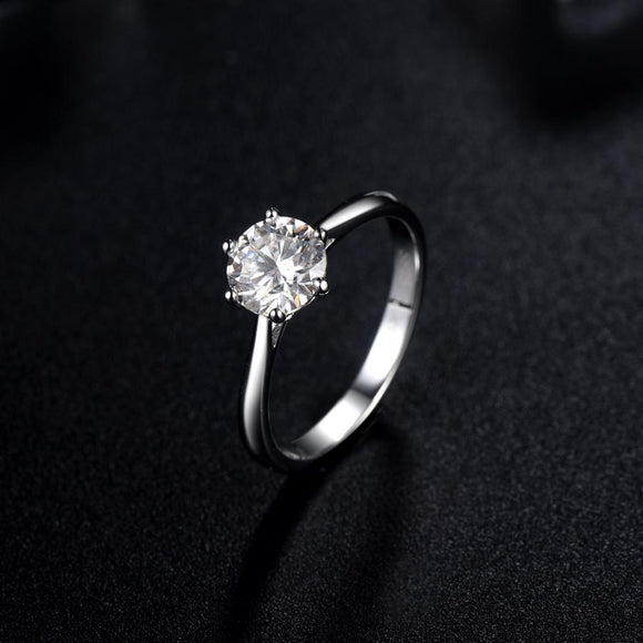 1.00ct Moissanite Engagement Ring, Classic Six Claw with Plain Band, Sterling Silver & Platinum