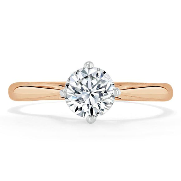 Lab-Diamond, Round Cut Engagement Ring, Classic Style, Choose Your Stone Size and Metal