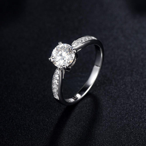 1.00ct Moissanite Engagement Ring, Classic Four Claw Setting with Stone Set Shoulders, Sterling Silver & Platinum