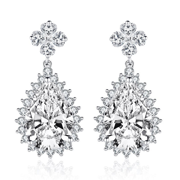 5.00ct Each Pear Cut Halo Diamond Drop Earrings, 925 Sterling Silver