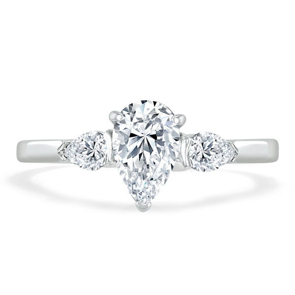 1.50ct Pear Cut Moissanite Engagement Ring, Classic 3 Stone, Available in White Gold, Platinum, Rose Gold or Yellow Gold